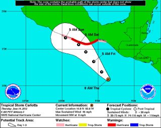 The predicted path of Tropical Storm Carlotta