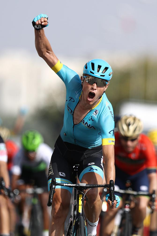 Magnus Cort (Astana) sprints to victory at the Tour of Oman.