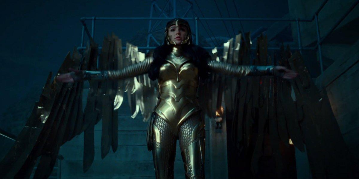 Wonder Woman wears her Golden Eagle armor in Wonder Woman 1984