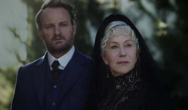 Winchester Jason Clarke Helen Mirren looking over their surroundings