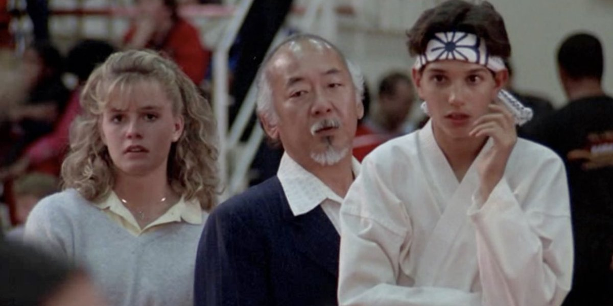 Elisabeth Shue, Pat Morita, and Ralph Macchio in The Karate Kid