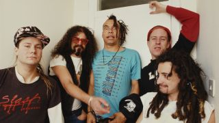 Faith No More, circa 1987. From left to right, Roddy Bottum, Jim Martin, Chuck Mosely, Billy Gould, and Mike Bordin