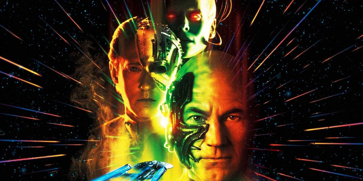 Star Trek: First Contact the Borg Queen looms over Data and Picard