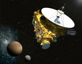 Artist's concept of NASA's New Horizons probe flying through the Pluto system. New Horizons team members are asking for the public's help in naming features on Pluto and its largest moon, Charon.
