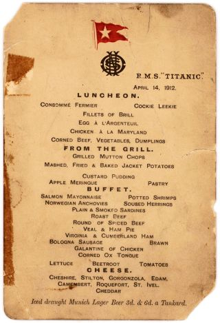 Titanic's Last Lunch Menu Sells for $88,000 at Auction