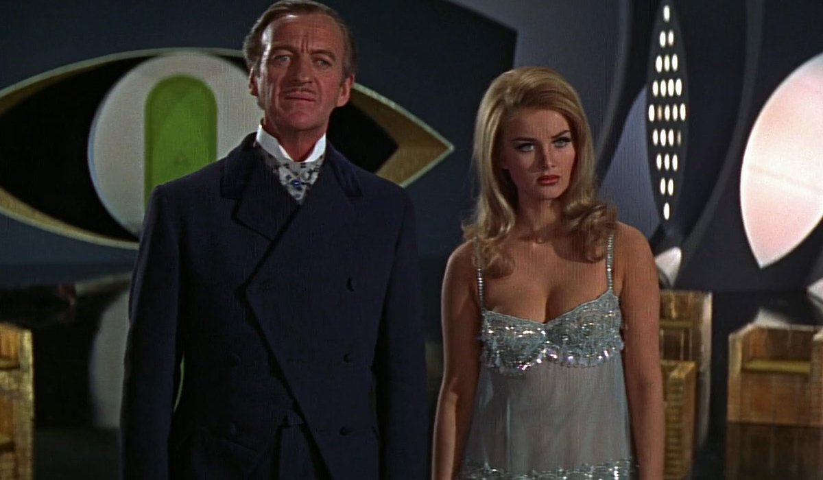 Casino Royale (1967) David Niven and Barbara Bouchet in Dr. Noah's lair