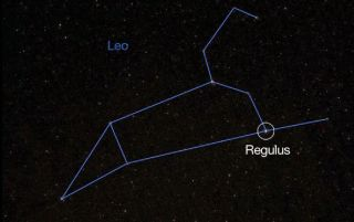 This image from a NASA March night sky video shows the constellation Leo, the Lion, and position of the bright star Regulus.