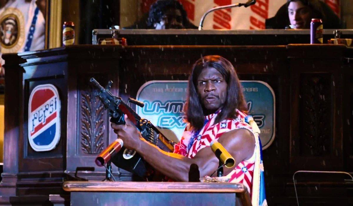 Idiocracy Terry Crews addresses Congress with a huge ass gun