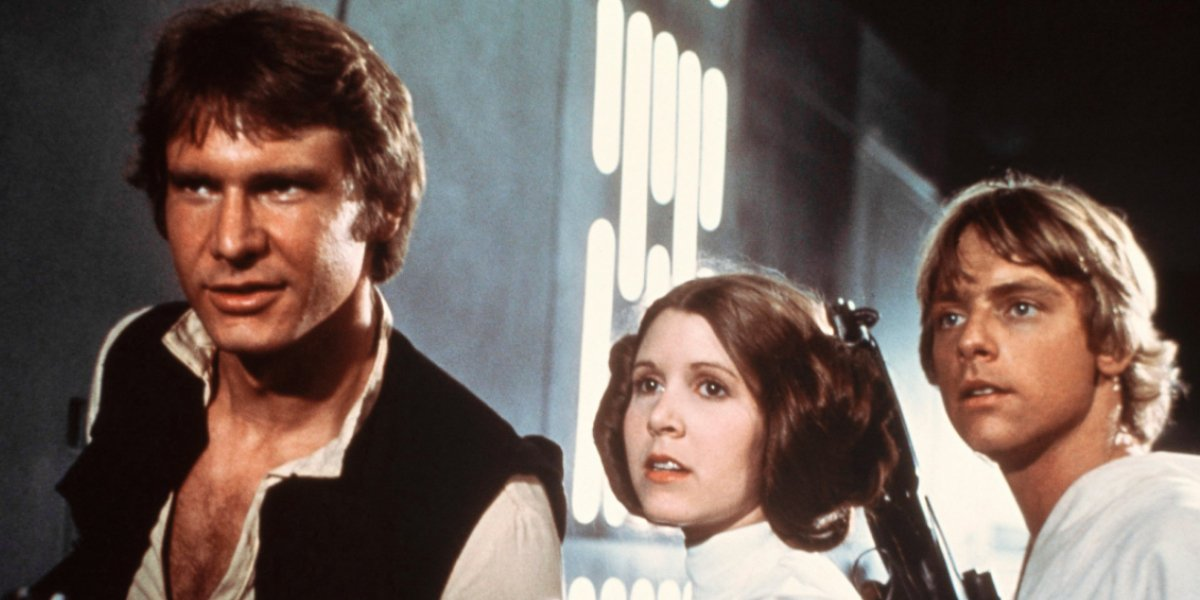 Harrison Ford, Carrie Fisher, and Mark Hamill in Star Wars
