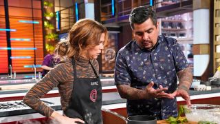 """Contestant Anne (left) with judge Aarón Sánchez in the """"Cook for Your Legend"""" airing Wednesday, Aug. 18 on Fox."""