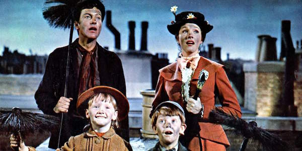 Dick Van Dyke as Bert, Julie Andrews as Mary Poppins, Karen Dotrice as Jane Banks and Matthew Garber