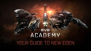 """EVE Online's famed battleships are in the background, moving toward the camera. IN the center is EVE Academy's logo, reading EVE Academy. A subtitle below reads """"Your guide to New Eden."""""""