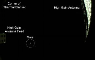 NASA's small MarCO-B cubesat took this photo of Mars from a distance of 310,000 miles on Nov. 24, 2018 ahead of the Nov. 26 landing of the InSight spacecraft. This annotated view shows the spacecraft parts visible.
