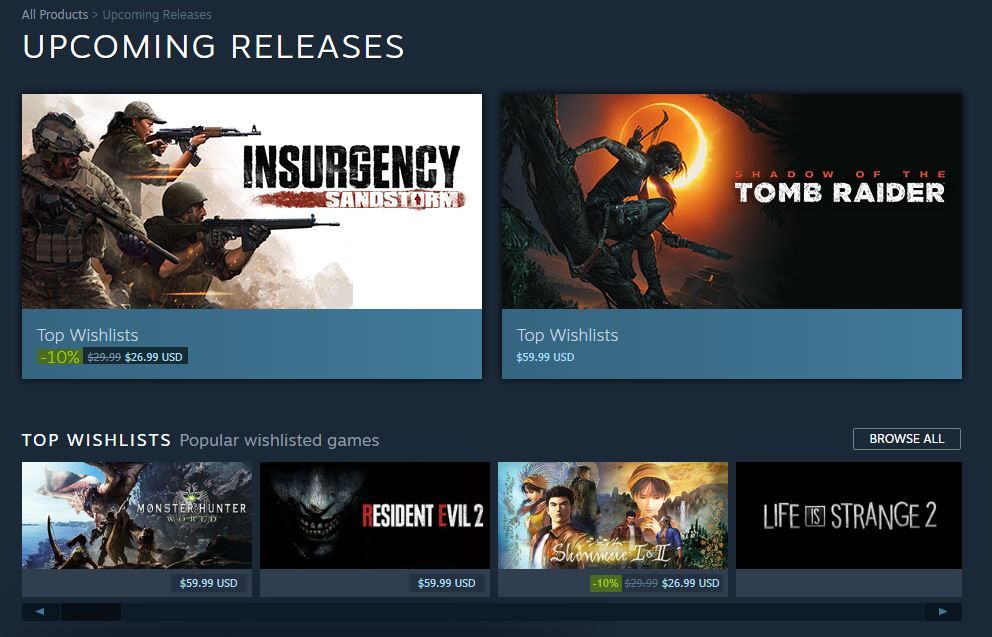 Steam has made changes to its 'Upcoming Releases' tab