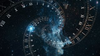 An illustration of a clock spiraling into space-time.