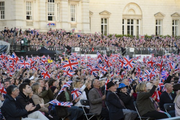 The audience during the VE Day 70: A Party to Remember concert on Horse Guards Parade