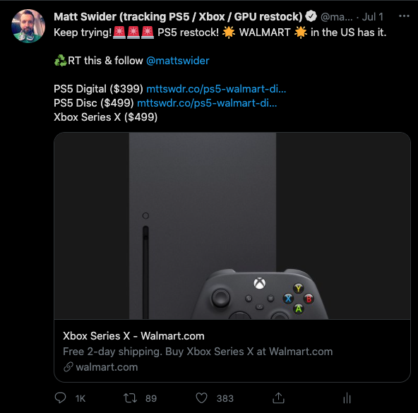 Walmart Xbox Series X restock alert from Matt Swider showing text on Twitter