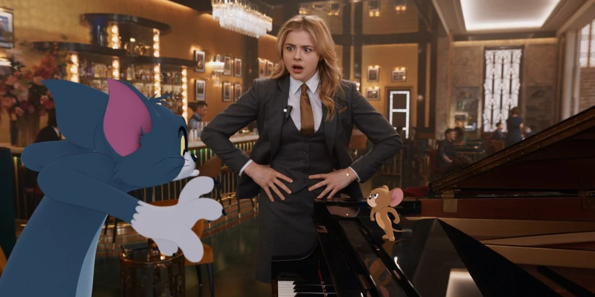 Tom, Chloë Grace Moretz, and Jerry in Tom and Jerry