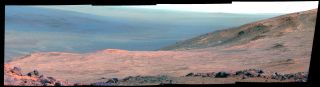 This false-color view captured by NASA's Opportunity Mars rover shows part of Marathon Valley as seen from an overlook to the north. The image was taken by the rover's Pancam on March 13, 2015.