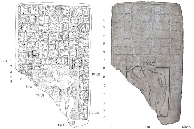A drawing (left) and a digital 3D model (right) of a stone slab found at the newly discovered kingdom.