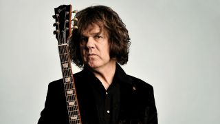 Irish musician Gary Moore, famous for his work with Skid Row and Thin Lizzy as well as his solo career, during a portrait shoot for Guitarist Magazine/Future via Getty Images, November 20, 2008, London
