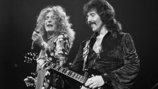 Led Zeppelin's Robert Plant and Black Sabbath's Tony Iommi on stage