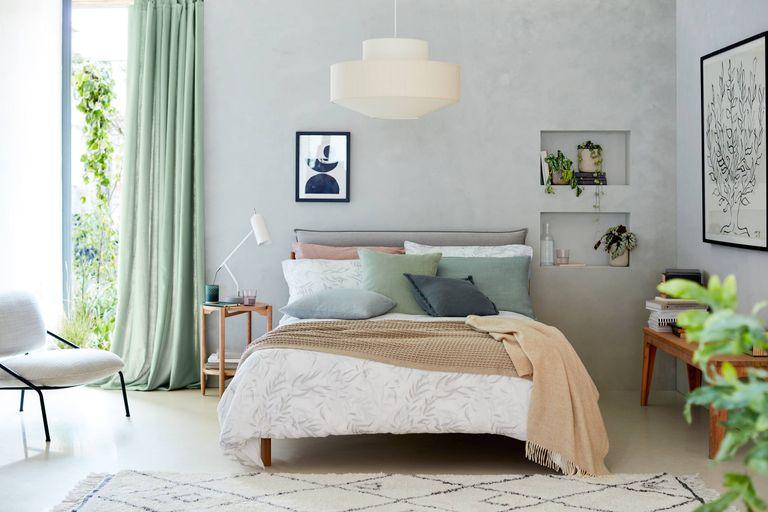 Furniture sales: John Lewis lookbook image of pastel coloured bedroom