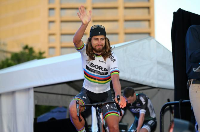 Peter Sagan (Bora-Hansgrohe) arrives at the Tour Down Under team presentation