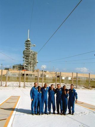 Discovery Shuttle Astronauts Train for Night Launch in Daylight