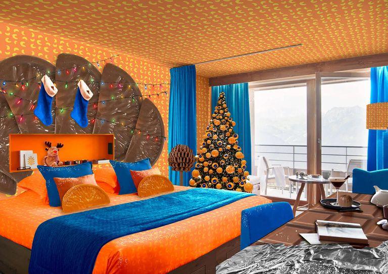 chocolate orange hotel room