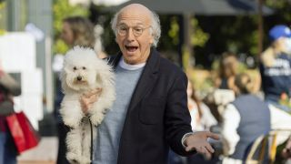 Larry David and a dog in Curb Your Enthusiasm season 11 episode 1