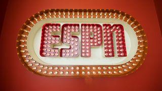 The original ESPN logo on display in Digital Center 2 in Bristol, Connecticut
