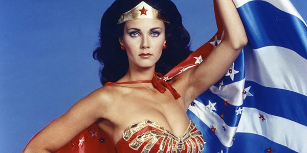 Lynda Carter as a cape-wearing Wonder Woman