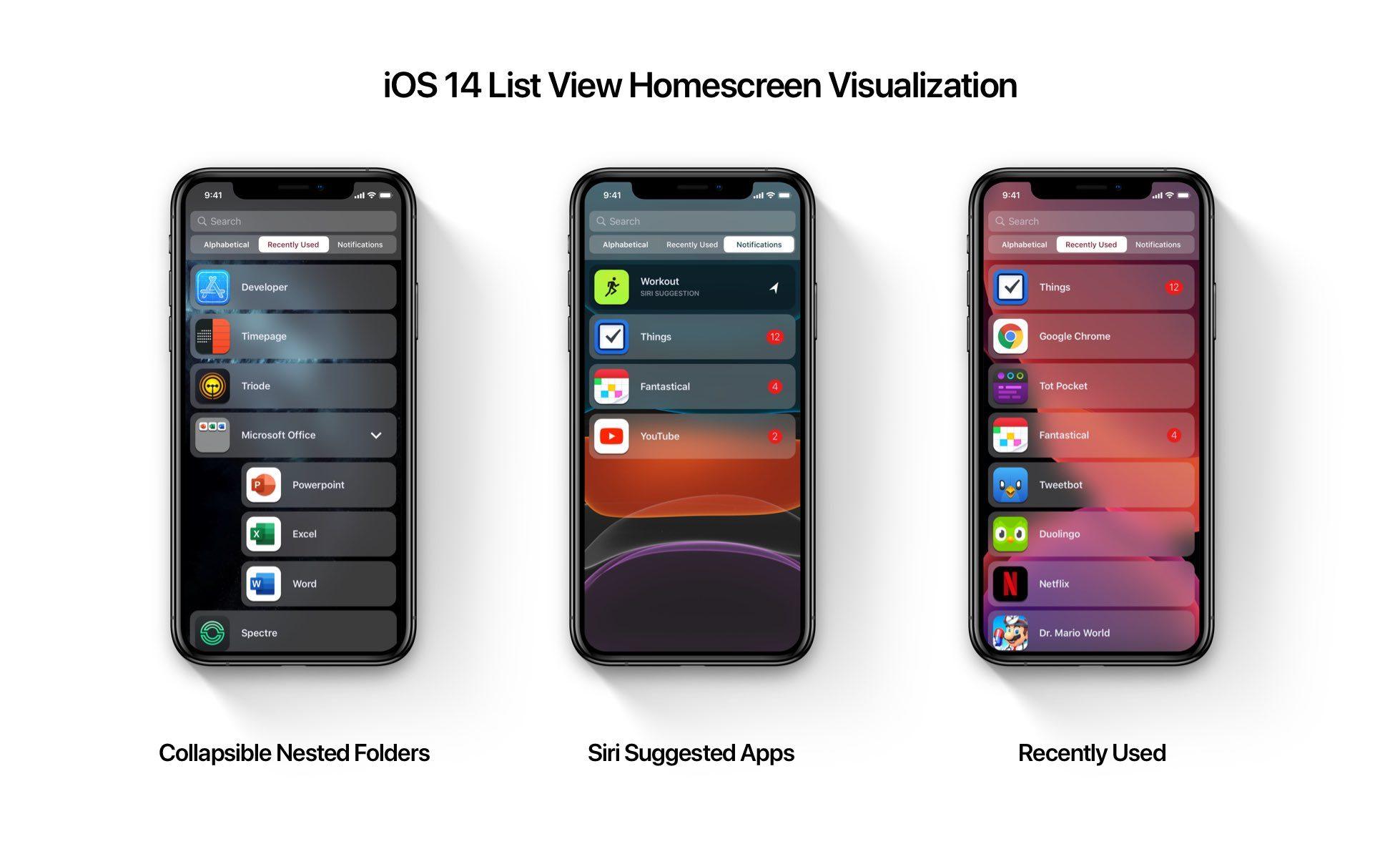 Maquete de exibição de lista do iOS 14