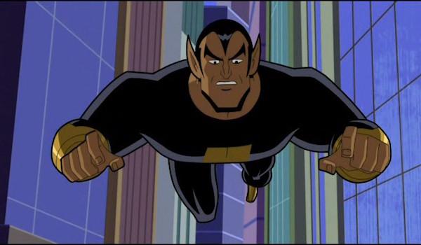 Black Adam flying in cartoon