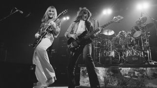 Rush, at the Civic Center in Springfield, Massachusetts, during the band's All The World's a Stage tour, 9th December 1976.