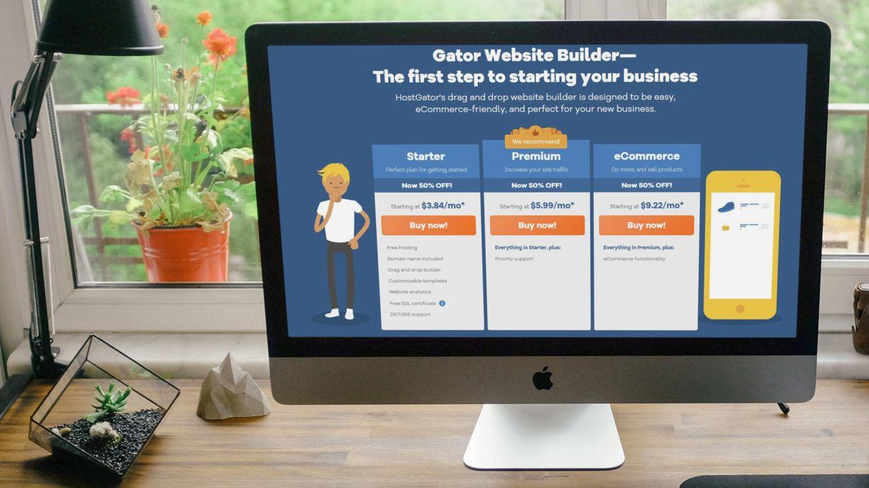 An iMac displaying a gator website builder