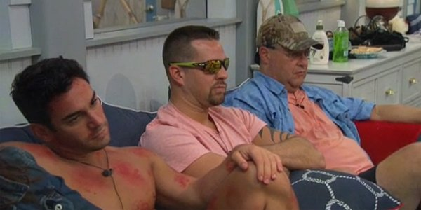 Big Brother 21 2019 Tommy in poison ivy spots Sam in sunglasses Cliff in hat CBS