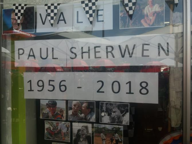 A memorial to Paul Sherwen at the TDU stage 3 start in Lobeathal