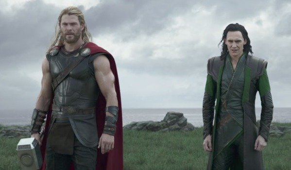 Thor and Loki staring down at Hela