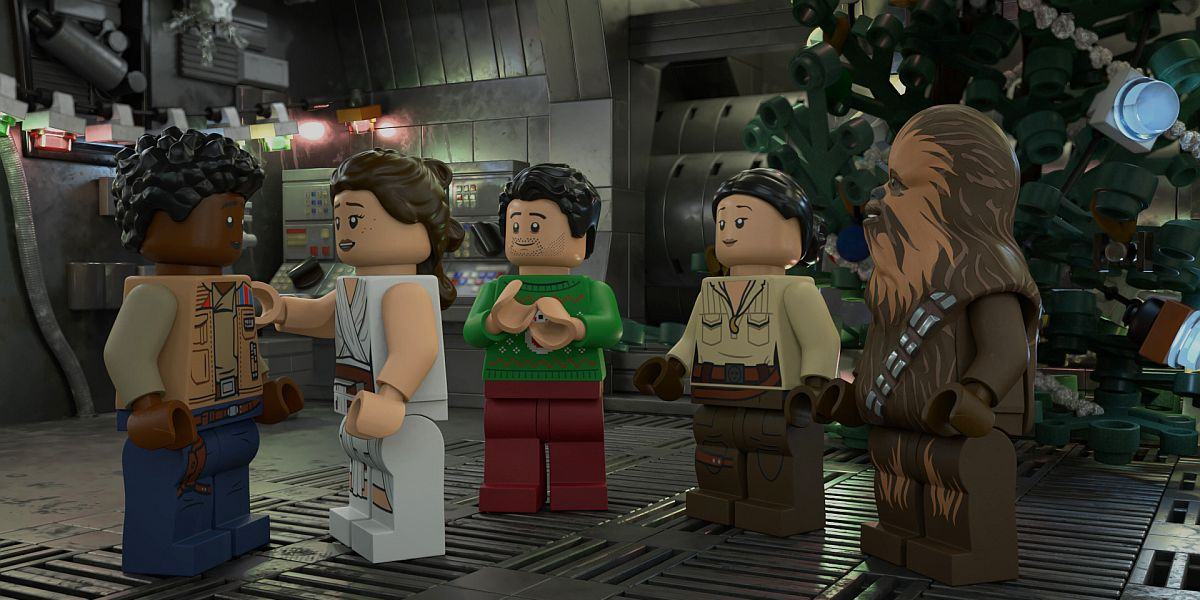 Finn, Rey, Poe, Rose, and Chewbacca celebrating Life Day in the LEGO Star Wars Holiday Special