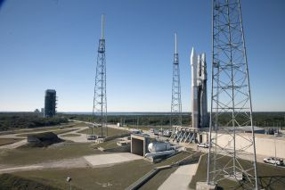 At Cape Canaveral Air Force Station's Launch Complex 41 in Florida, a United Launch Alliance Atlas 5 rocket with NASA's Tracking and Data Relay Satellite, or TDRS-L, spacecraft atop, arrives at the launch pad for a planned Jan. 23, 2014 launch.