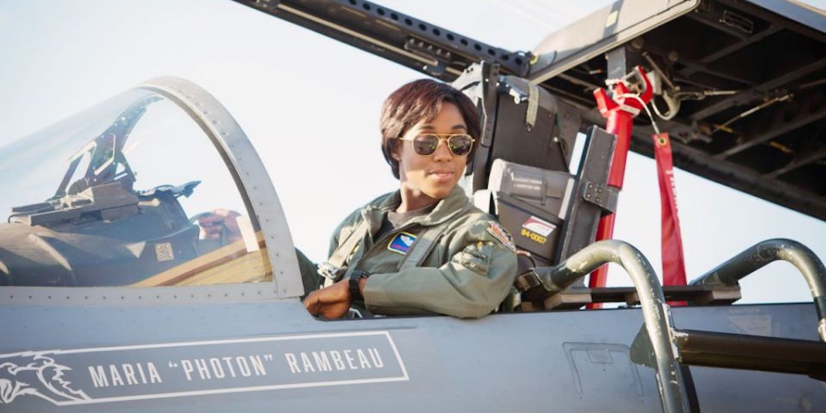 Lashana Lynch as Maria Rambeau in fighter plane in Captain Marvel