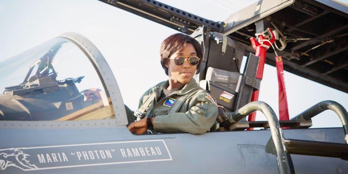Lashana Lynch as Maria Rambeau in fighter plane in Captain Marvel