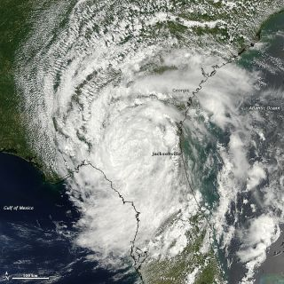 Tropial Depression Beryl was imaged by NASA's Terra satellite after it made landfall over Florida on Monday, May 28, 2012.