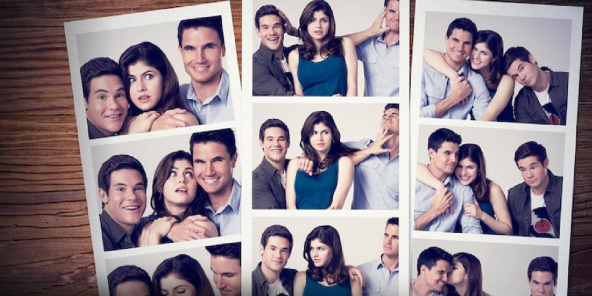 Alexandra Daddario, Adam DeVine, and Robbie Amell in When We First Met