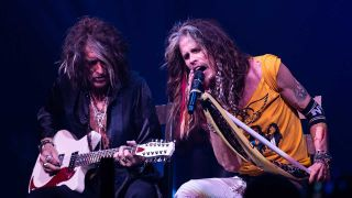 Joe Perry and Steven Tyler onstage