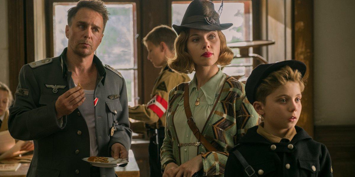 Sam Rockwell Scarlett Johansson and Roman Griffin Davis in Jojo Rabbit