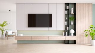TV cabinet and display with wood flooring and pastel green wall
