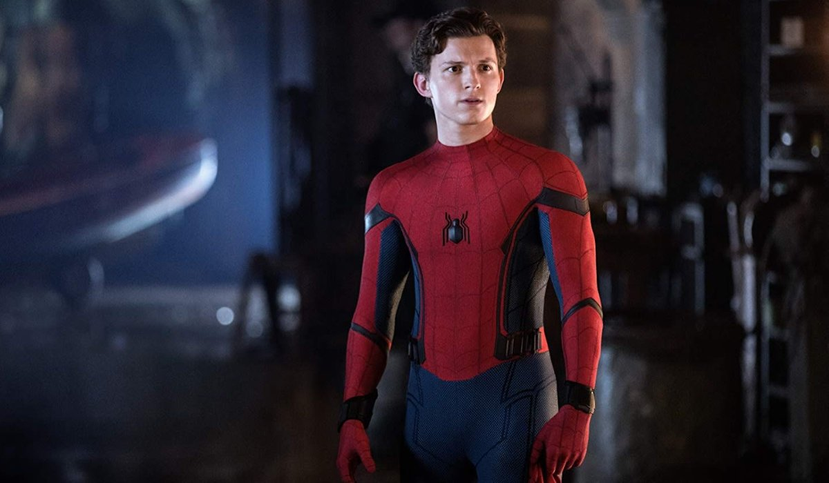 Spider-Man: Far From Home Peter Parker in his suit, in the canals of Venice